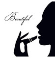 woman face silhouette a woman in profile icon vector image