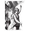 angel pointing upward with left hand vintage vector image vector image