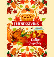 autumn harvest friendsgivind day dinner vector image vector image