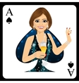 blonde woman representing ace of spades card vector image