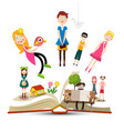 book with characters - people reading books vector image vector image