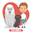 boy with dog and cat chracters vector image vector image