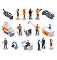 broadcasting isometric icons set vector image vector image