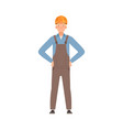 builder in gray overalls is standing front view vector image vector image