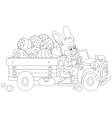 Bunny carries Ester eggs vector image vector image