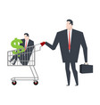 business family in store go shopping manager in vector image vector image