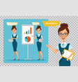 business woman is showing profit growth graph vector image vector image
