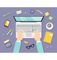 Business workplace with notebook vector image vector image