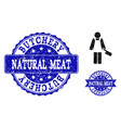butcher person textured icon and stamps vector image vector image
