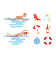 butterfly and breaststroke set vector image