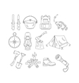 Camping holiday line icons vector image vector image