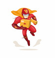 character superhero mascot carrying package vector image vector image