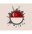Circle with industrial silhouettes Singapore flag vector image vector image