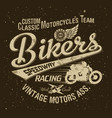 classic vintage motorcycle racing team vector image