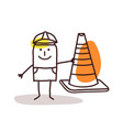 construction worker man with a cone sign vector image