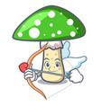 cupid green amanita mushroom character cartoon vector image vector image