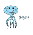 Cute cartoon jellyfish vector image