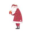 cute christmas santa claus character with gift box vector image vector image