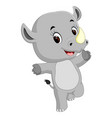 cute happy rhino cartoon vector image vector image