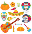 day dead mexican tradition objects for vector image vector image