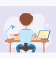 education online student boy typing in computer vector image vector image