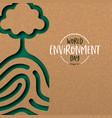 environment day card papercut fingerprint vector image vector image