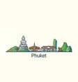flat line phuket banner vector image vector image