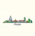 flat line phuket banner vector image