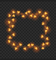 frame of gold heart shaped bulbs carnival garland vector image vector image