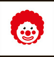 funny clown with red hair wig 1 april fools day vector image vector image