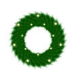 green christmas wreath with incandescent light vector image