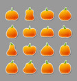 halloween pumpkin icon sticker set vector image vector image