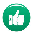 hand excellent icon green vector image vector image