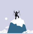 happy man successfully climb on top of the vector image vector image