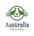 kangaroo animal circle logo design vector image vector image