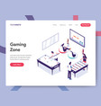 landing page template gaming zone concept vector image vector image