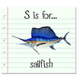 Letter S is for sailfish vector image vector image