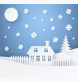 merry christmas poster made of paper with house vector image