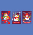 merry christmas snowman new year greeting vector image