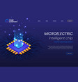 micro electronics circuits landing page template vector image vector image