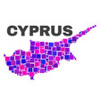 mosaic cyprus map of square elements vector image vector image