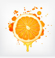 orange slice with dripping juice vector image vector image