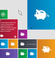 Piggy bank icon sign buttons Modern interface vector image