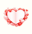 realistic 3d colorful red and white romantic vector image vector image