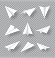 realistic handmade paper planes collection on vector image