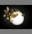 round banner with golden hummingbird vector image vector image