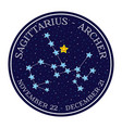 sagittarius zodiac constellation round icon vector image