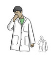 serious doctor touching his nose vector image