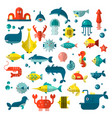 set flat sealife elements plants and vector image vector image