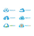 set of cloud logo combination loading and vector image vector image
